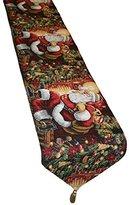 "Decorative Christmas Santa Claus Design Tapestry, 13"" X 70"" Table Runner"
