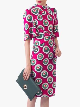 Jolie Moi Abstract Print High Neck Midi Dress, Pink Multi