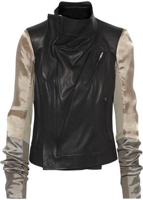Rick Owens Color-block Leather And Satin Biker Jacket