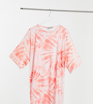 Street Collective Curve relaxed sleeve t-shirt dress in tie dye