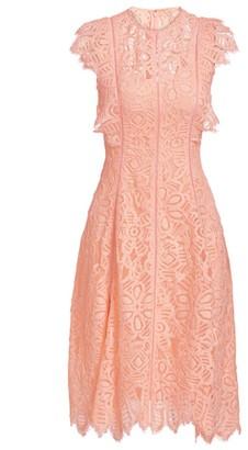 Lela Rose Cap Sleeve Lace A-Line Dress