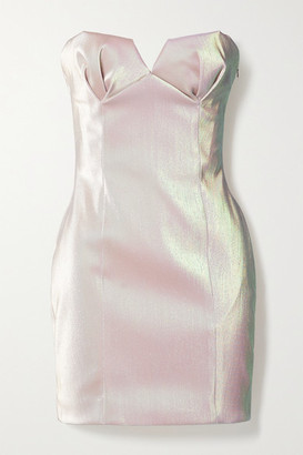 Area Strapless Iridescent Lame Mini Dress - Blush