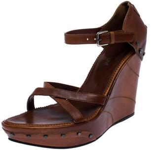 Saint Laurent Paris Brown Leather Studded Cross Strap Wedge Platform Sandals Size 38