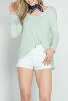 She + Sky Waffle Thermal Top