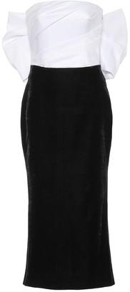 Rasario Silk-satin and velvet midi dress