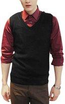 uxcell Men V Neck Slim Fit Leisure Knit Vest L