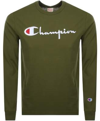 Champion Crew Neck Long Sleeve Logo T Shirt Green