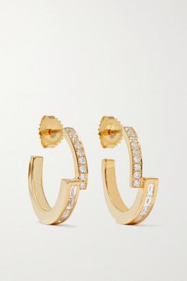 Azlee 18-karat Gold Diamond Hoop Earrings - one size