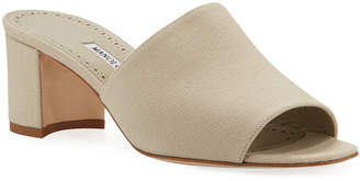 Manolo Blahnik Rapallato Block-Heel Denim Slide Sandals