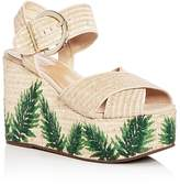 Schutz Women's Feray Raffia Platform Wedge Sandals