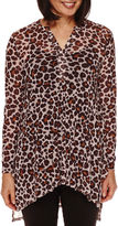 Sag Harbor Artful Animal-Print 3/4-Sleeve Mesh Top