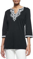 Joan Vass 3/4-Sleeve Embroidered Tunic, Petite