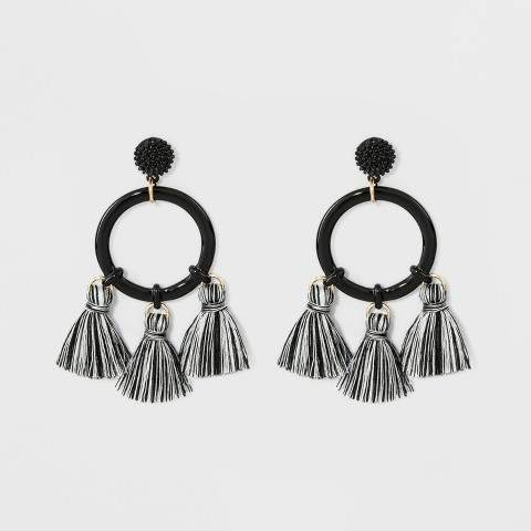 SUGARFIX by Mixed Media Hoop Earrings with Tassels