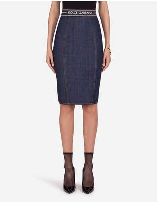 Dolce & Gabbana Denim Midi Skirt With Waistband Detail