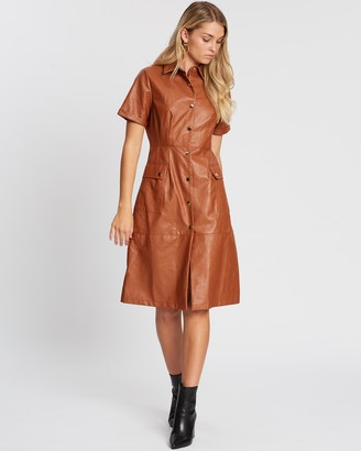 Atmos & Here Olive PU Dress