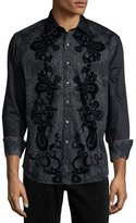 Robert Graham Canary Island Printed Long-Sleeve Sport Shirt, Black