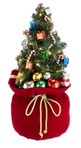 Kurt Adler 20-Inch Battery-Operated Polyester Led Gift Bag with Tree