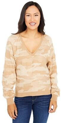 Lucky Brand Camo Sweater (Camel Heather) Women's Clothing