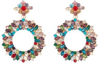 Eye Candy Los Angeles Multicolored Crystal Open Hoop Dangle Earrings