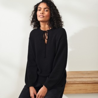 The White Company Tie-Neck Jumper with Cashmere, Black, 6