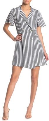 MSK Notch Collar Double Breasted Stripe Print Romper