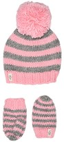 UGG Chunky Stripe Knit Hat and Mitten Set (Toddler/Little Kids) (Seashell Pink) Caps