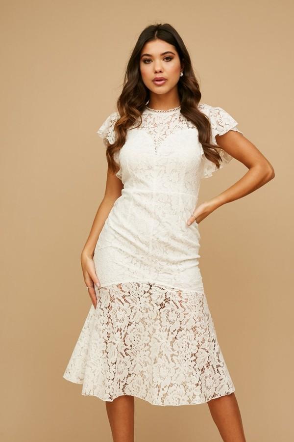 Little Mistress Blaise White Lace Peplum Midi Dress