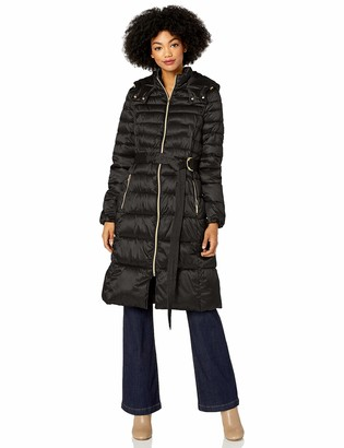 Cole Haan Women's Sateen Faux Down Belted Coat