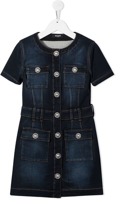 Balmain Kids Contrast-Stitching Denim Dress
