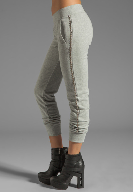 Norma Kamali Modern Vintage Active Jog Pant in Grey with Silver Studs