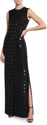 Akris Sleeveless Column Squares Dress