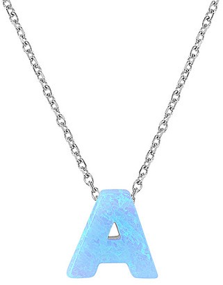 Gab+Cos GAB+COS Women's Necklaces SILVER - Blue Opal & Sterling Silver Initial Necklace