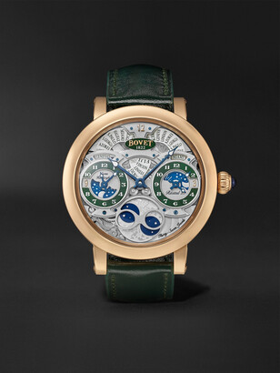 Bovet - Recital 27 Limited Edition Hand-Wound 46mm 18-Karat Red Gold and Leather Watch, Ref. No. R270007 - Men - Green