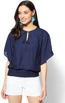 New York & Co. Crochet-Trim Tassel-Tie Blouse