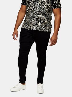 Topman BIG & TALL Washed Black Rip Spray On Skinny Jeans*