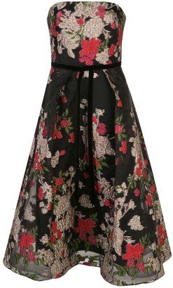Marchesa Notte Strapless Floral Fil Coupe Dress