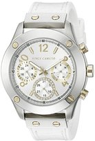 Vince Camuto Women's VC/5235SVWT Multi-Function Dial White Croco-Grain Leather Strap Watch