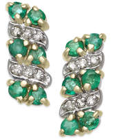 Macy's Emerald (1/2 ct. t.w.) & Diamond Accent Drop Earrings in 14k Gold