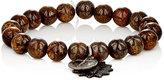 Miracle Icons Men's Bronzite Bead & Charm Bracelet-BROWN