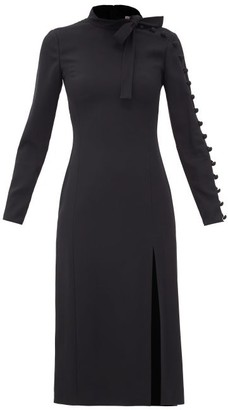 RED Valentino Tie-neck Crepe Midi Dress - Black