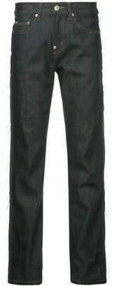 pushBUTTON Panelled Faux Leather Straight Jeans