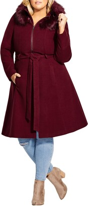 City Chic Miss Mysterious Coat with Faux Fur Trim