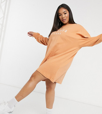 Il Sarto Curve long-sleeved T-shirt dress in sand