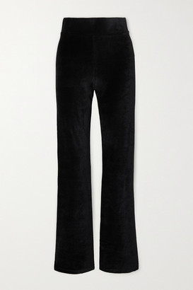 CALÉ Angelique Stretch-velour Flared Pants - Black