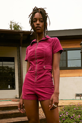 Urban Outfitters Tyson Zip-Front Short Sleeve Romper