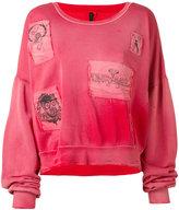 Unravel Project - patched crop sweatshirt - women - Cotton - S