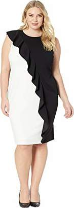 Adrianna Papell Women's Plus Size Colorblock Crepe Sheath Dress with Ruffled Draping