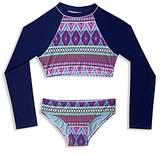 Gossip Girl Girls' Tribal Stripe Rash Guard Two Piece Swimsuit - Big Kid