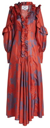 Evi Grintela Printed Silk Ruffle Dress