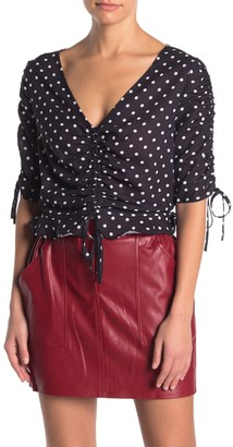 Do & Be Polka Dot Cinch Front Crop Blouse